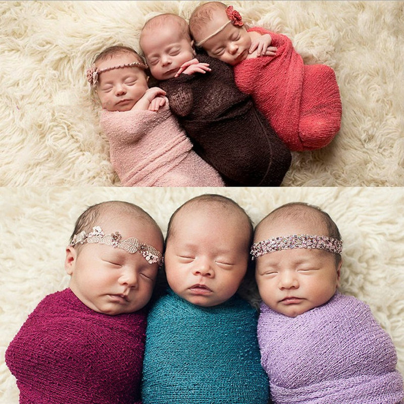 20pc/lot Newborn Photography Props Cotton Soft Wrap Infant Photo Costume Baby Stretch Swaddling Clothes Fotografie Achtergronden newborn baby photography props infant knit crochet costume peacock photo prop costume headband hat clothes set baby shower gift page 6