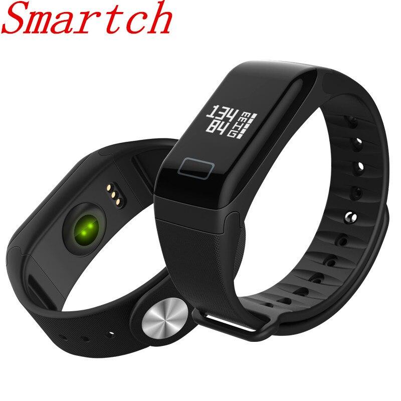 Smartch F1 inteligente pulseras F1 Monitor de presión arterial de pulsera de Fitness rastreador de actividad banda inteligente Smartband podómetro pulsera