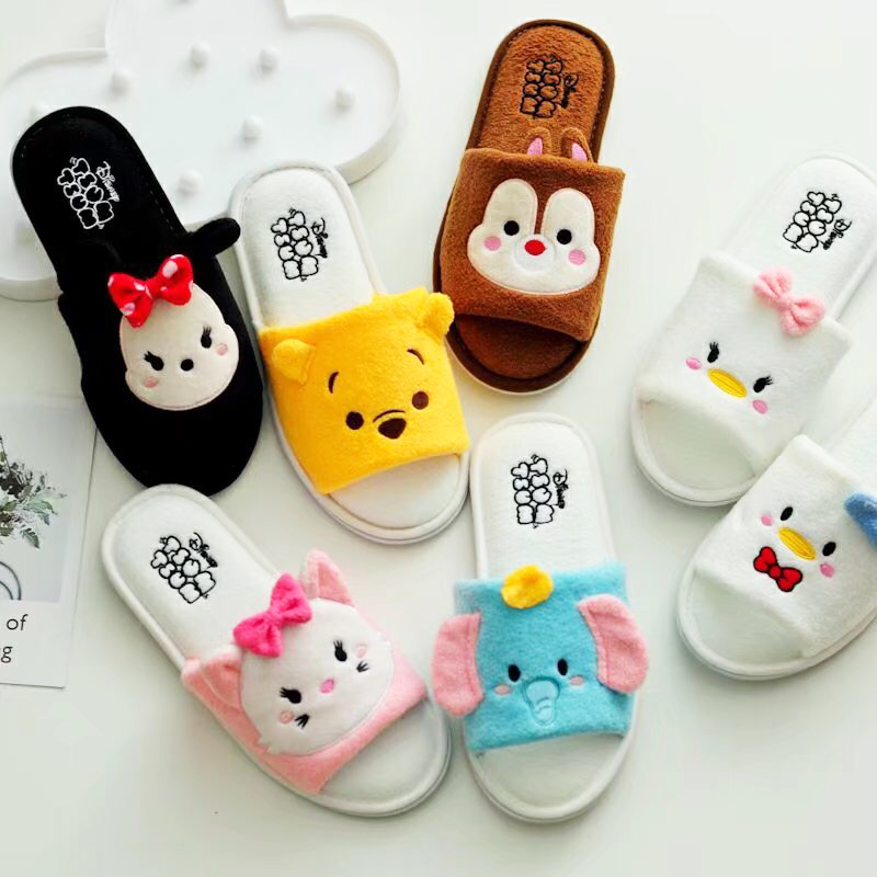 Winter Warm Indoor Mickey Minne Slippers Cute Cartoon Slippers Plush Slides Unisex Home Bedroom Slippers Pantufa big size44 warm home slippers women bedroom winter slippers cartoon slippers fur slides autumn lovers female indoor soft bottom
