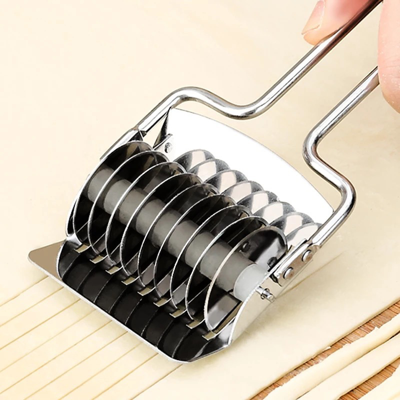 Manual Stainless Steel Section Handle Pressing Machine Noodle Cut Shallot Roller Lattice Cutter DIY Pasta Spaghetti Maker KC1688 image