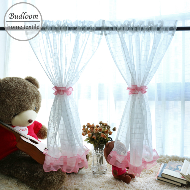 Budloom 2 Pcs Plaid Short Tulle Curtains For Kitchen White Small Sheer Cafe Window Panel