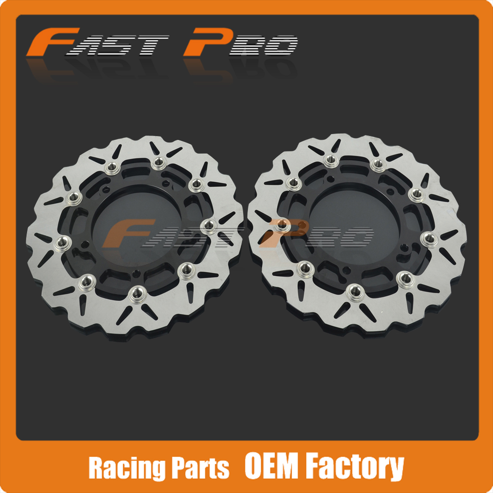 1 Pair Front Floating Brake Disc Rotor For Suzuki SFV650 SFV 09-13 SV650 SV 650 Naked ABS 07-12 disc brake pads set for suzuki sv650 sv 650 a naked abs 2007 2008 2009 2010 gsr750 gsr 750 abs