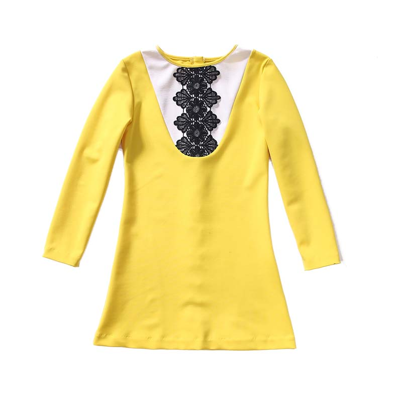 1 Piece Yellow Dress Children New Costume Gown Tutu Girl Long Sleeve Casual Dresses For Girls Clothes Birthday Party Kids fashion 2016 new autumn girls dress cartoon kids dresses long sleeve princess girl clothes for 2 7y children party striped dress
