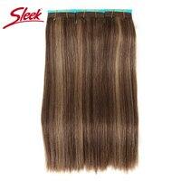 Sleek Colorful Hair Double Drawn Brazilian Remy Human Hair Bundles Silky Straight Hair Weave P4/27 Color Human Hair Extension