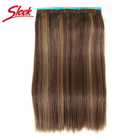 Sleek Colorful Hair Double Drawn Brazilian Remy Human Hair Bundles Silky Straight Hair Weave P4/27 Color Human Hair Extension
