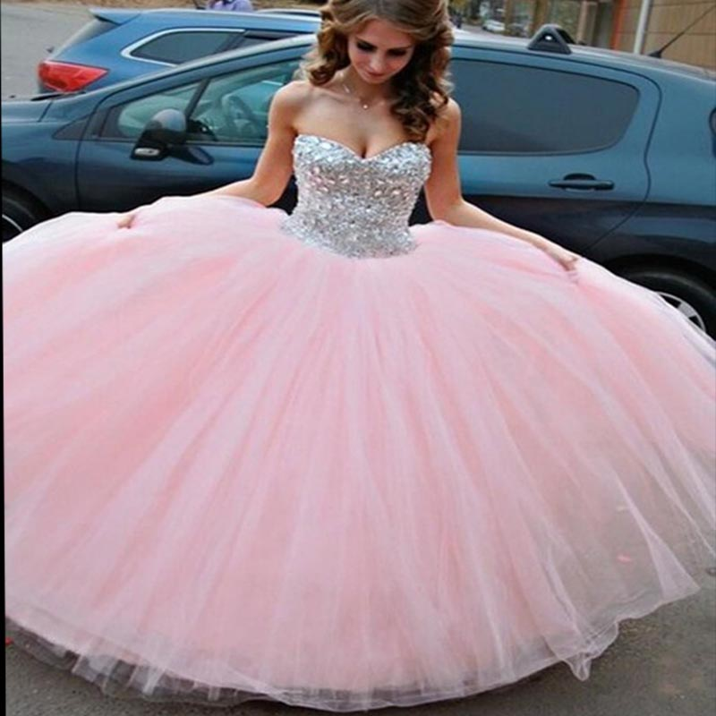 Pink Ball Gown Quinceanera Dresses 2019 Custom Made Sweetheart Vestido De 15 Anos Puffy Tulle Quinceanera Dress Sweet 16