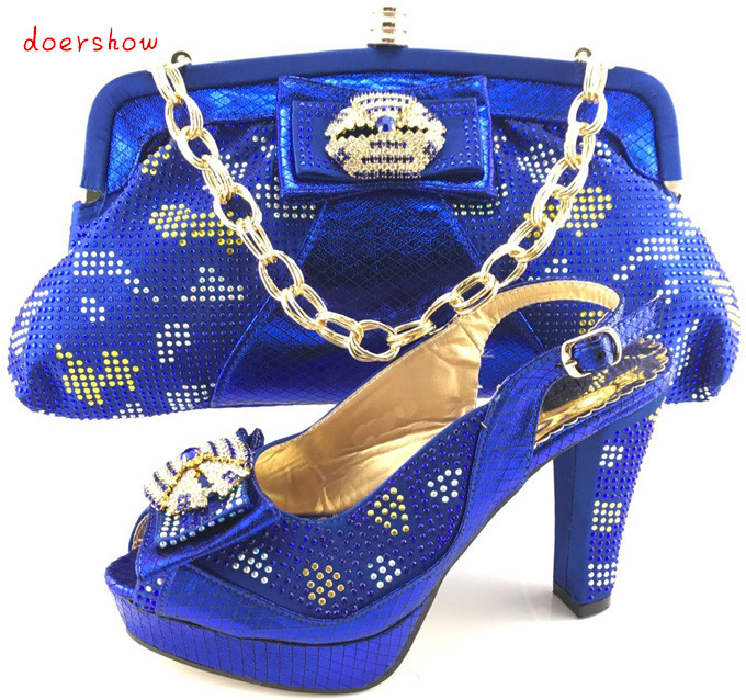 2017 New blue Women Pumps Italian Shoe And Bag Set African Wedding Shoe And Bag Sets Women Shoe And Bag To Match doershow PQS1-9