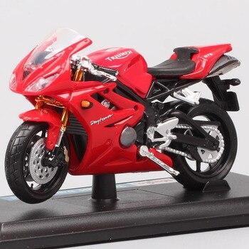 Maisto-mini moto TRIUMPH DAYTONA escala 1:18, vehículo de juguete fundido a presión, ruedas en miniatura, 675