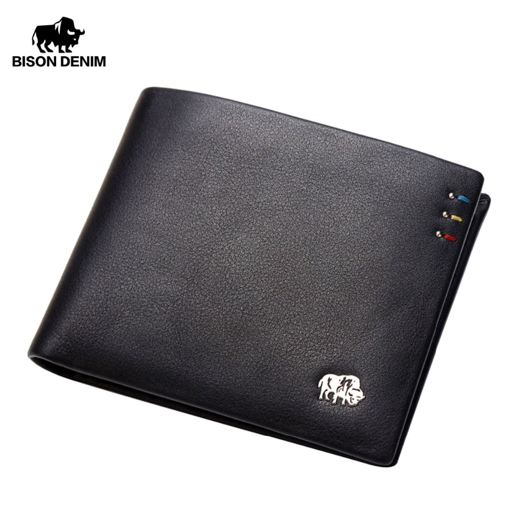 BISON DENIM Business Casual Wallet Menn Topp Layer Ekte Skinn Purses Menn Korte Lommebøker Metal Brand Logo Slim Wallet N4411-3B
