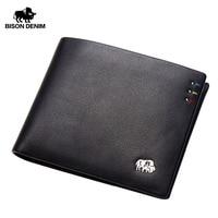 BISON DENIM Business Casual Wallet Men Top Layer Genuine leather Purses Men Short Wallets Metal Brand Logo Slim Wallet N4411 3B