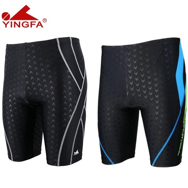 Yingfa 2019 Sharkskin Boys Men's Long Racing Swimming Jammers Swim Trunks Shorts Men Swimwear Plus Size Free Shipping!!
