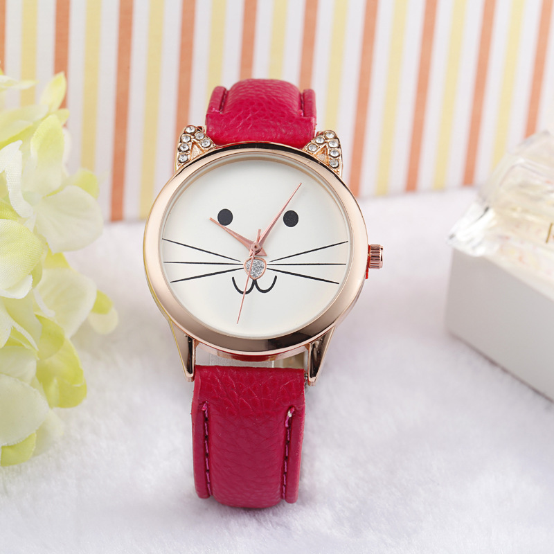 Mance-X Fashion Neutral Diamond Lovely Cute Cat Face Faux Leather Cartoon Quartz Watch Women Dress Wrist Watch Relogio Feminino сумка для документов burton tote true black canvas