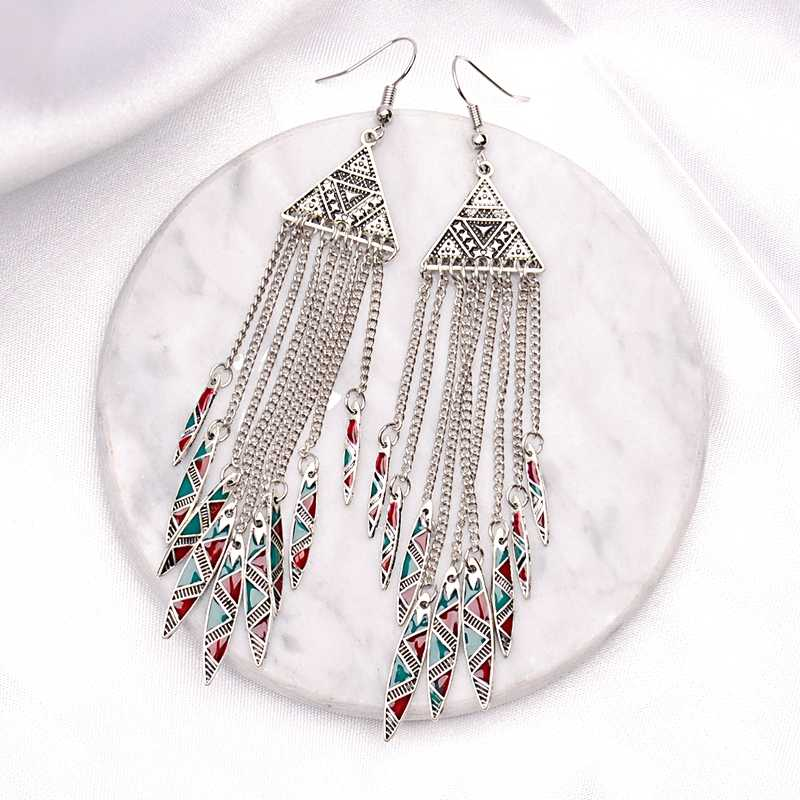 Amader 2019 Women's Geometric Alloy Long Chain Tassel Dangle Earrings Bohemia Triangle Alloy Drop Earrings Jhumka