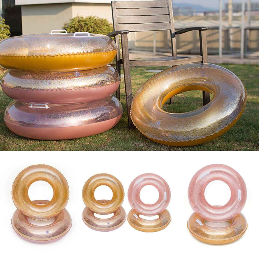 Fun PVC Adults Water Raft Lounge Chair Inflatable Sequins Round Swimming Ring Glitters Buoy Circle Water Party Supplies For Kids