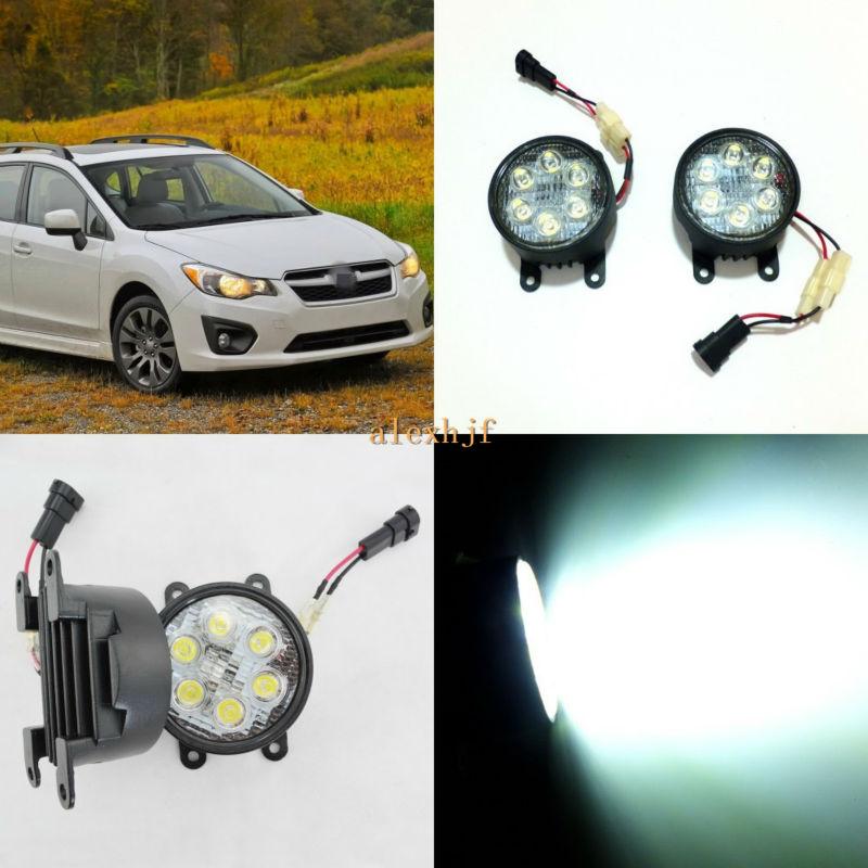 July King 18W 6LEDs H11 LED Fog Lamp Assembly Case for Subaru Impreza 5D/XV 2011~15 etc, 6500K 1260LM Daytime Running Lights hot sale for subaru f1 style rear fog lights red lens subaru wrx vag 2014 sti vab 2014 xv 2012 impreza gp 2011