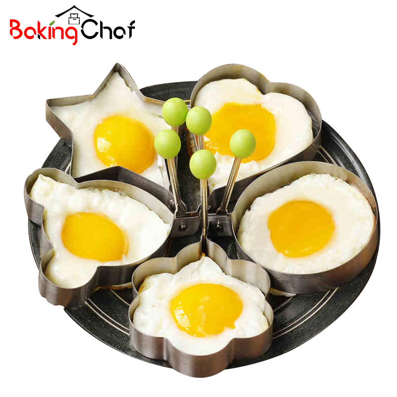 BAKINGCHEF 5Pcs/Set Egg Mold Cake Baking Omelette Pastry Fondant Kitchen Gadgets Bakeware Tools Accessories Supplies Cases