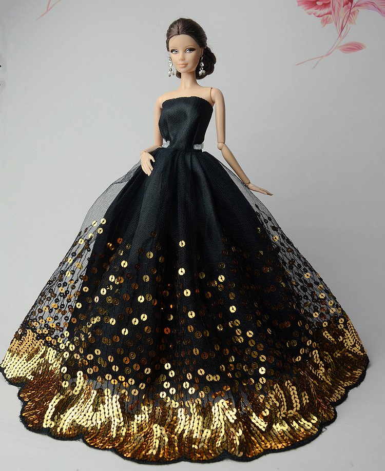NK One Pce  Elegant Black Dress  New handmake wedding Dress Fashion Clothing Gown With Lots of Gold Sequins Made For Barbie doll asus pce n15 300мбит с