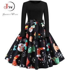 Image 4 - Winter Weihnachten Kleider Frauen 50S 60S Vintage Robe Schaukel Pinup Elegante Party Kleid Langarm Casual Plus Größe druck Schwarz