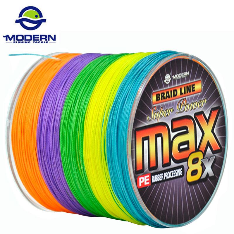 Prix pour 1000 M MODERNE DE PÊCHE Marque MAX8X série multicolore 10 M 1 Couleur Japon mulifilament PE Ligne de Pêche Tressée 8 Brins tressé fils