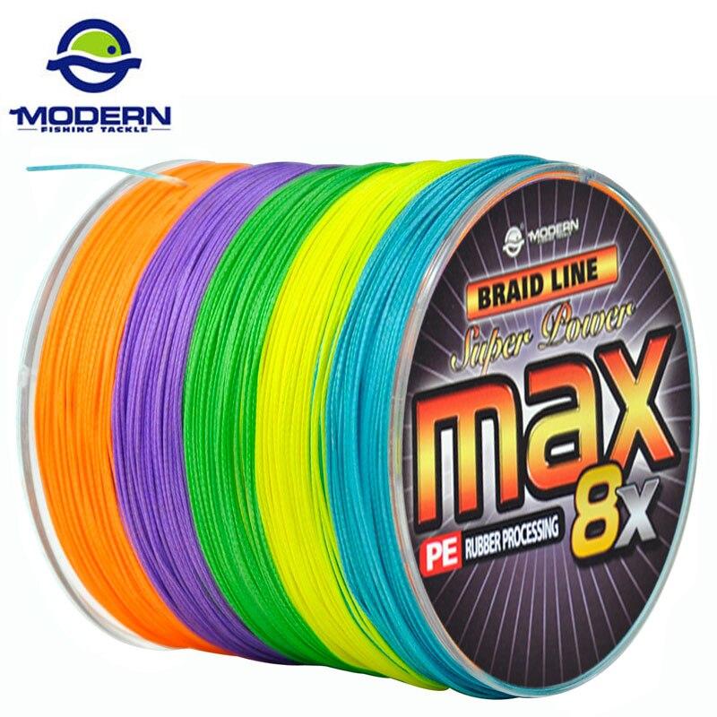 1000 m MODERNE DE PÊCHE Marque MAX8X série multicolore 10 m 1 Couleur Japon mulifilament PE Tressé Ligne De Pêche 8 Brins tressé fils
