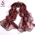 New Grape Flower Female Silk Scarf Shawl Printed 170*105cm Spring Autumn Fashion Accessories Purple Red Long Scarves For Ladies