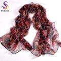 Nova Flor Uva Feminino Silk Scarf Shawl Impresso 170*105 cm Acessórios de Moda Roxo Vermelho Longo Cachecóis Primavera Outono para Senhoras