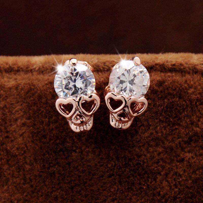 2016 New Trendy Women's/Girl's Gold Plated CZ Crystal Skull Pierced Stud Earrings Jewelry Gift[JE061083/YT]