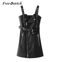 Free Ostrich Women Mini Dresses PU Leather V Nck Sexy Dress Sash Zipper Short Dress Sundress