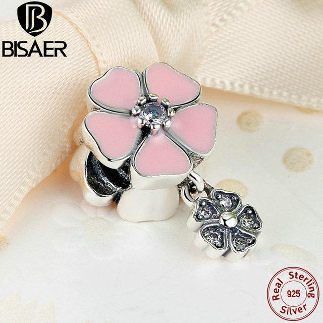 Poética BISAER 100% 925 Sterling Silver Doce Flor Flores Rosa Suave esmalte & Clear CZ Charme Fit Pandora Bracelet & Bangle AS284