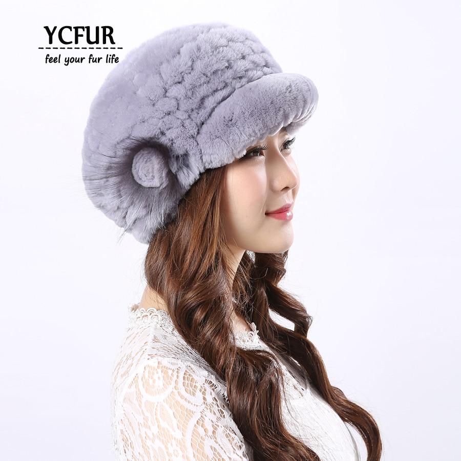 YCFUR Ženske Kape Kape Zimske Pletene Real Rex Zajčji Krzneni - Oblačilni dodatki - Fotografija 5
