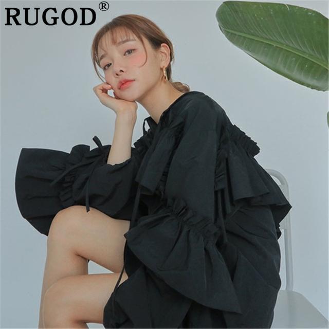 Korean Ruffles loose butterfly sleeve style party beach mini dress