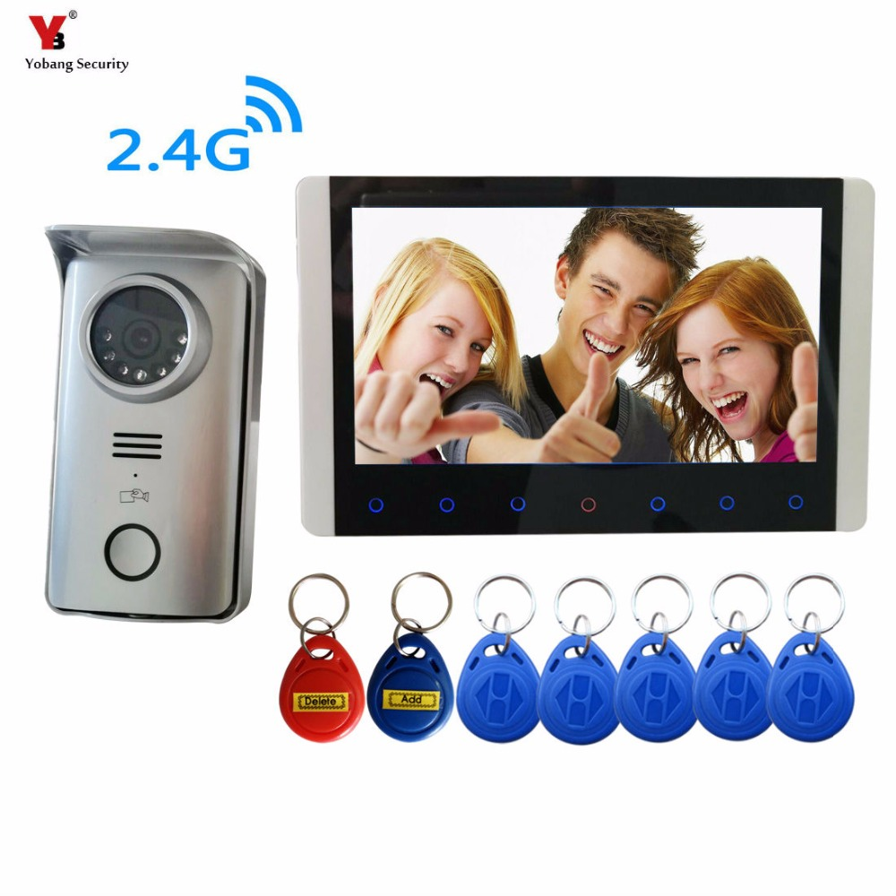 Yobang Security  7 inch Wireless Intercom Video Door Phone 1 Camera and 1 Monitors PIR Take Picture 2 Way Audio 5 RIFD card kx3501 1v3 3 5 lcd wireless video door phone 1 camera 3 monitors set blackish grey