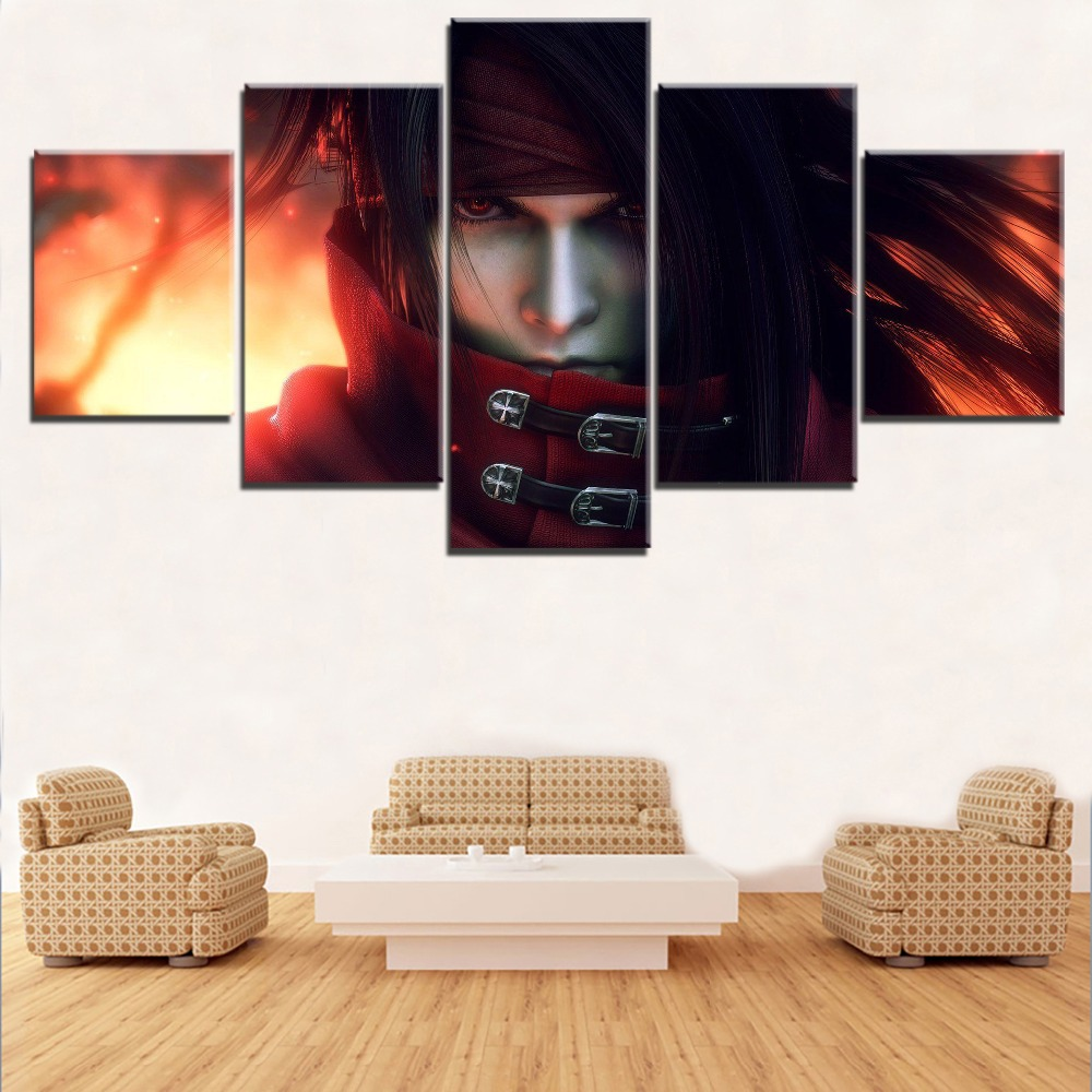 Canvas Print Poster For Living Room Wall Art Picture 5 Pieces Game Final Fantasy VII Dirge of Cerberus Role Painting Home Decor image