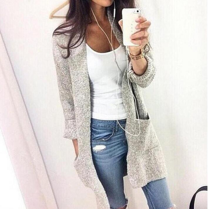 2017 Ms spring sweater new female  long sleeve cardigan sweater coat pocket knit color as show size S-4XL