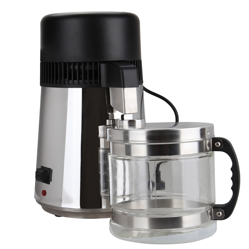 (Ship from AU) 4L Water Distiller Pure Water 304 Stainless Steel Purifier Filter With Glass Jar ship from germany 4l pure water distiller purifier dental and medical pure water maker stainless steel body