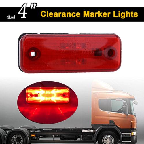 Keyecu 10PCS/LOT 10-30V 4Led Side Marker Light Indicator Lamp for Truck Trailer Lorry Caravan Red/Amber/White