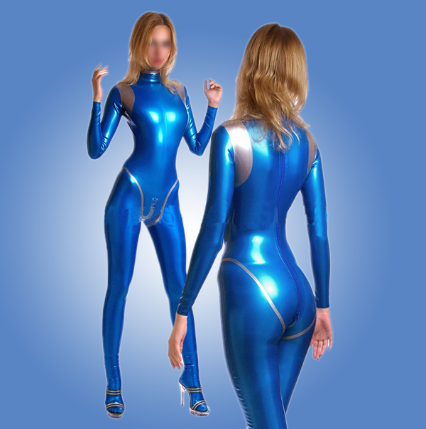 все цены на Sexy women blue and silver latex catsuit rubber bodysuit zentai costumes hot sale онлайн