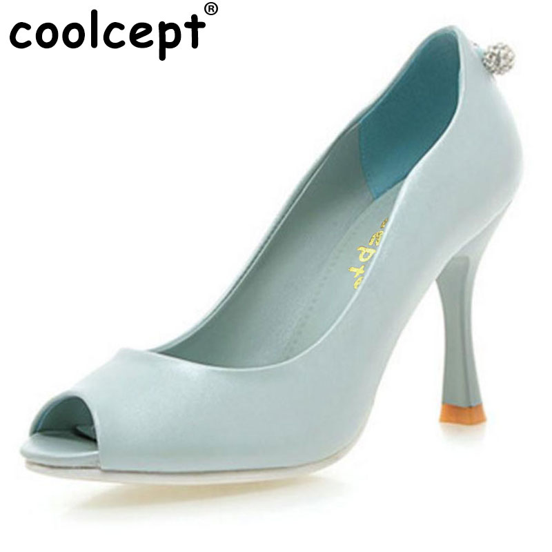 Coolcept women peep open toe high heel shoes lady sexy fashion platform heeled footwear heels brand shoes size 32-43 P22804 taoffen women high heels shoes women thin heeled pumps round toe shoes women platform weeding party sexy footwear size 34 39
