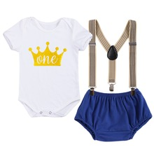 2019 New 3pcs Baby Clothes Set Boy Girl 1st Birthday Outfit Romper Suspenders Shorts Pants Photography Cake Smash