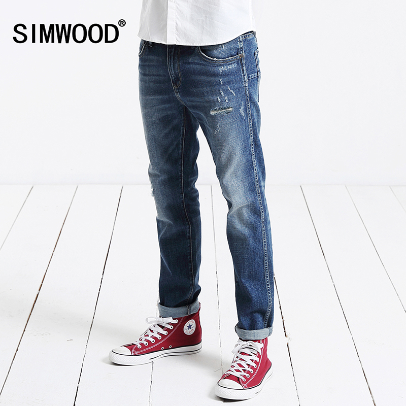 2017 autumn winter New Arrival SIMWOOD Brand Men Jeans Slim Fit Casual Zipper Fly Denim Pants Plus Size Free Shipping SJ6030 men s cowboy jeans fashion blue jeans pant men plus sizes regular slim fit denim jean pants male high quality brand jeans