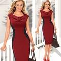 Womens Vestido Sem Mangas Peito Drape Design Sofisticado Cintura Emagrecimento Silhueta Sólido Preto Vermelho Sexy Vestido de Verão Da Moda