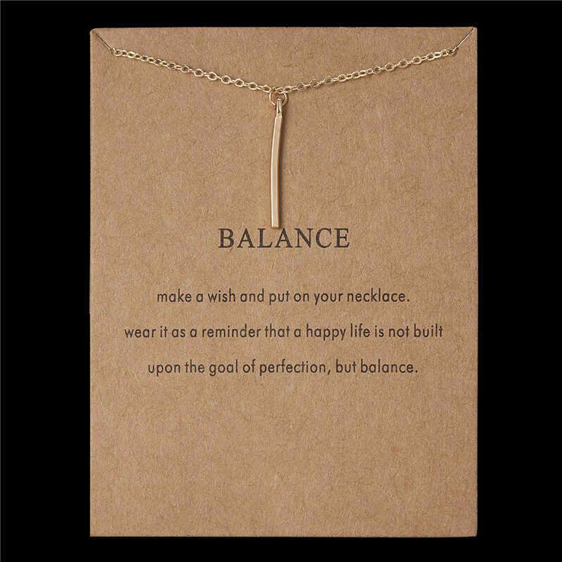 Musujące saldo karty pionowy pasek wisiorek naszyjnik złoty kolor łańcuchy obojczyka oświadczenie naszyjnik kobiety biżuteria