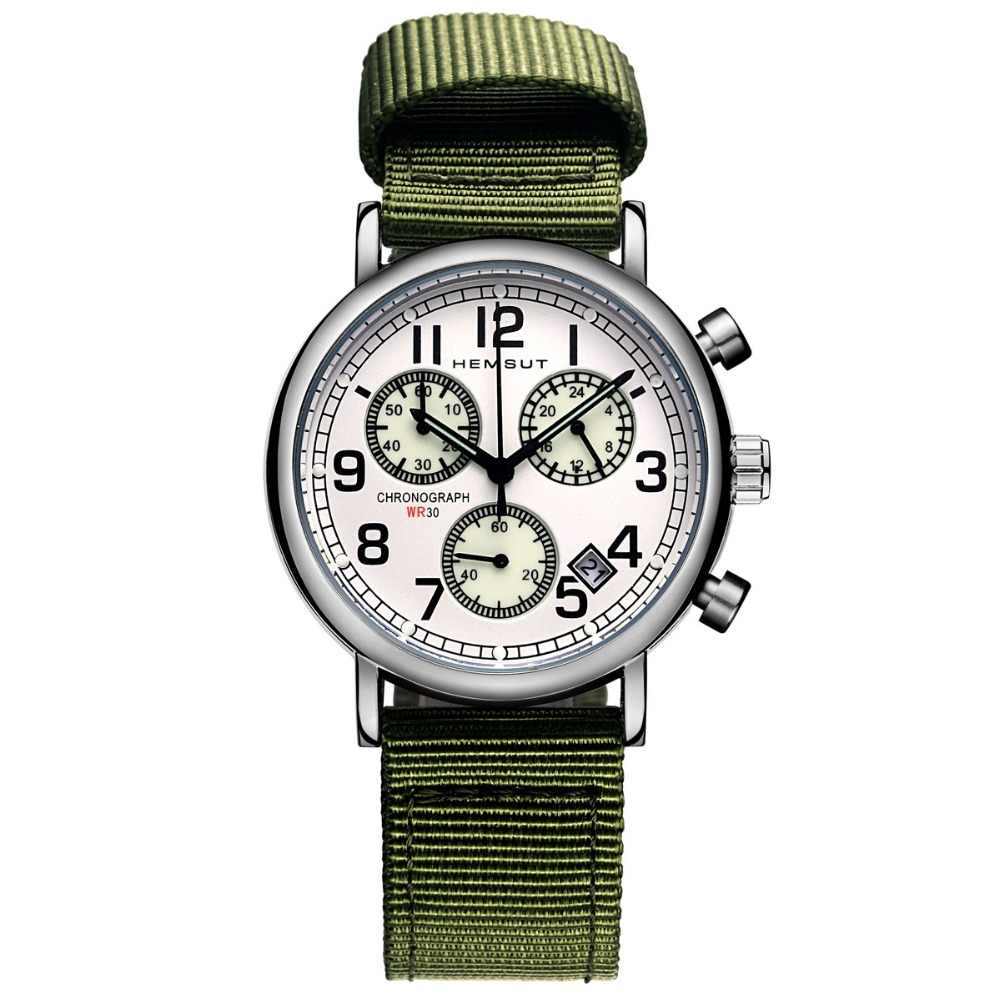 HEMSUT Casual Men Watch Quartz Watch Chronograph Function Green Nylon Straps Military Force Mens Clock relogio masculino 2018