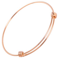 MJB0313 Wholesale Cheap 316L Stainless Steel Bulk Expandable Bangle Bracelet Wire Wrap Adjustable Loop Rose Gold