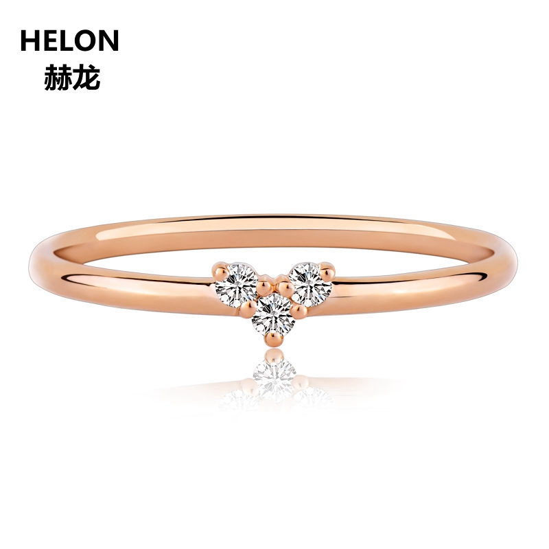 0.04ct Natural Diamond Ring for Women Solid 14k Rose Gold Jewelry Engagement Wedding Ring Wholesale solid 14k rose round 13mm gold diamond natural blue topaz ring wedding ring hot sale
