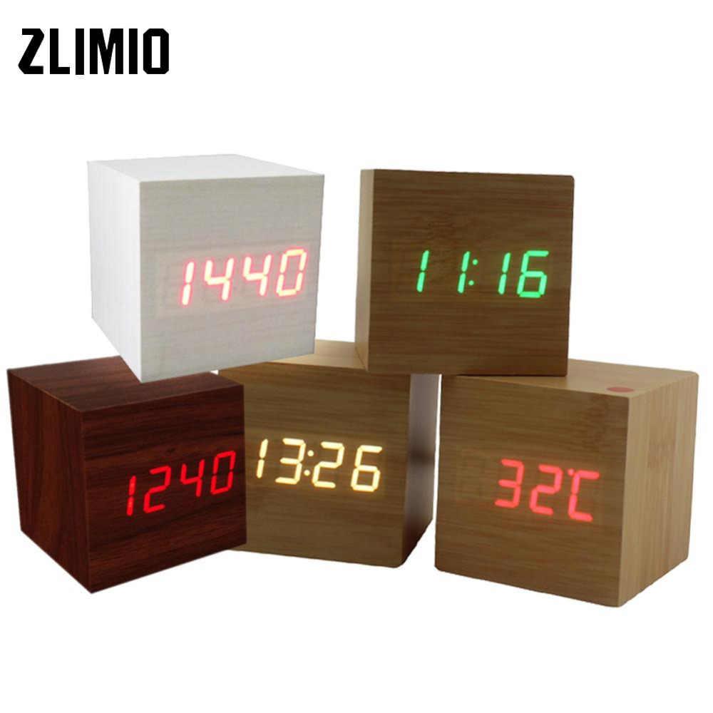 Многоцветный Звук управление деревянный квадратный светодио дный светодиодный Будильник Настольный цифровой термометр дерево USB/AAA Дата дисплей