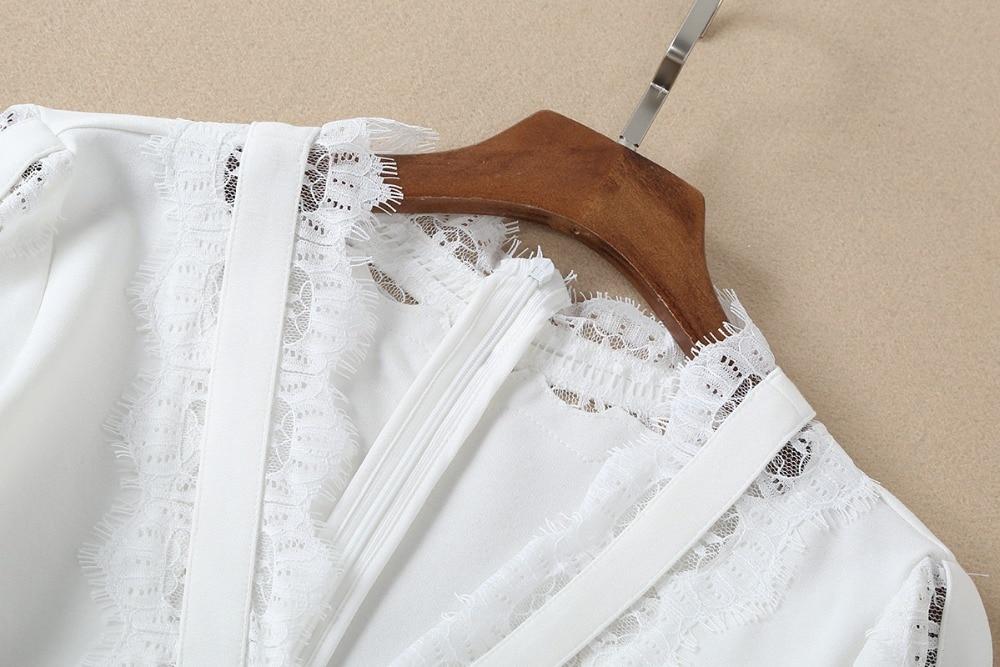 V Été Manches En Sexy Printemps Dentelle Élégant Col Piste Profond Femmes Designer Robes Blanc Lanterne Femme 2019 Patchwork De txwggz41vq
