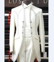 Custom Made Groomsmen Mandarin Smoking Dello Sposo Avorio Uomini Abiti Da Sposa/Prom Uomo Migliore (Jacket + Pants + Tie)