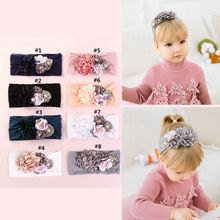 Cute Flower Soft Nylon Headbands Girls Wide Headwraps Hairwear Children Kids Turban Hair Accessories