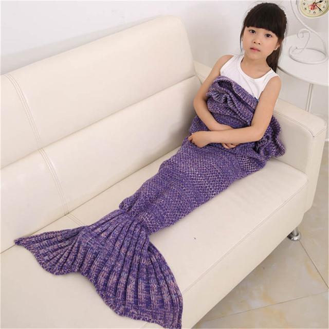 Punto Mermaid Tail Crochet Manta de Cama de Los Niños Abrigo Saco de dormir